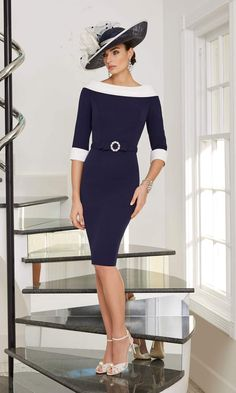 29505 Veni Infantino Ronald Joyce Navy Occasion Dress  Feel glamorous in the simplicity of this knee length occasion dress, style 29505 from Veni Infantino. The classic colour combination of navy and ivory suits most skin tones, and co-ordinates with most colours themes at a wedding or occasion. Mid-length sleeves finished with contrasting cuffs complet...  #dress #occasion Mother Of Bride Outfits, Mother Of The Bride, Navy Dress Accessories, Prom Outfits, Fashion Outfits, Prom Dresses, Short Fitted Dress, Ronald Joyce, Classic Outfits