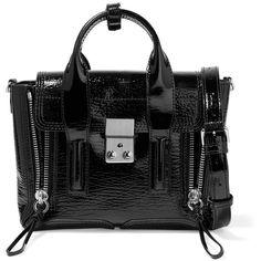 3.1 Phillip Lim The Pashli mini textured patent-leather trapeze bag ($830) ❤ liked on Polyvore featuring bags, handbags, black, structured handbags, clasp handbag, miniature purse, shoulder strap purses and 3.1 phillip lim