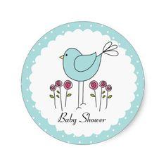 Cute Duck Egg Blue Bird Baby Shower Stickers