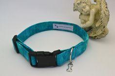 Unique Handmade Aqua Blue Print Dog Collar, Pet Supplies, Pet Accessories, Adjustable Pet Aqua Blue Print Collar by HaleysPetBoutique on Etsy
