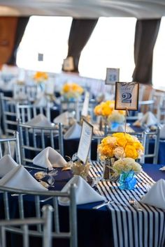 Love Using Yellow And Blue For Nautical Wedding Adds A Good Hy Vibe To The Table Ideas