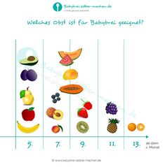 Which fruit is suitable for baby porridge from when - infographic-Welches Obst ist ab wann für Babybrei geeignet – Infografik Which fruit is suitable for baby porridge from when - Baby Led Weaning, Baby Cooking, Lactation Recipes, Healthy Fruits, Healthy Food, Health Snacks, Mom And Baby, Baby Baby, Baby Time