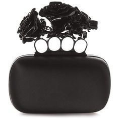 Alexander McQueen Rose Knuckle-duster satin clutch ($3,295) ❤ liked on Polyvore featuring bags, handbags, clutches, black, black clutches, rosette handbag, knuckle duster purse, rosette purse and alexander mcqueen clutches