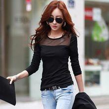 Corea mujeres de moda de verano estilo de algodón de encaje de malla Patchwork camisas de manga larga camiseta mujeres Tops Tops T-Shirt(China (Mainland))