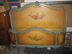 1920s HAND PAINTED FULL SIZE BED HEAD & FOOT BOARD | eBay  $1300