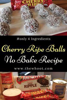 Cherry Ripe Balls Taste Sensation No Bake 4 Ingredients Video Easy Christmas Treats, Christmas Desserts, Christmas Recipes, Xmas Food, Christmas Cooking, No Bake Slices, Baking Recipes, Dessert Recipes, 4 Ingredient Recipes