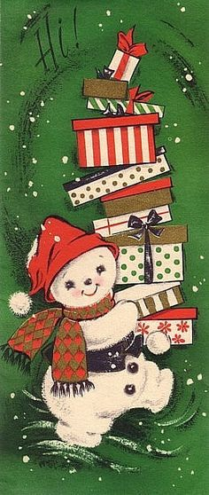 """An adorable vintage Christmas """"Hi"""" to one and all. #snowman #vintage #Christmas #cards"""
