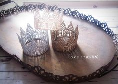 the harlow... mini vintage gold lace crown HEADBAND option newborn photography prop or keepsake on Etsy, $14.00