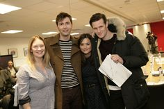 Joanna Page, David Tennant, Jenna-Louise Coleman, and Matt Smith at the read-through for the Doctor Who 50th anniversary special. (Photo: BBC)