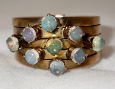 Vintage 14K Gold Opal Stacking Ring Size 6 by hmael on Etsy, $239.00