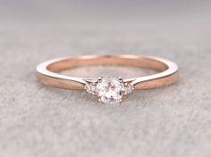 3 Steine Morganit Engagement ring Rose gold Diamond von popRing