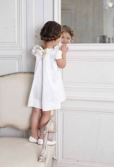 #kids #girl #braid #white #linen #dress