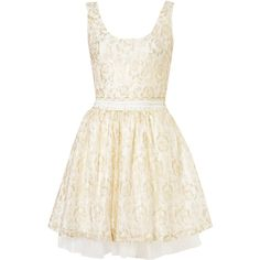 **Lace Prom Dress by Coco's Fortune ($26) ❤ liked on Polyvore featuring dresses, vestidos, robes, short dresses, cream, white lace cocktail dress, lace mini dress, white sleeveless dress, short white dresses and prom dresses