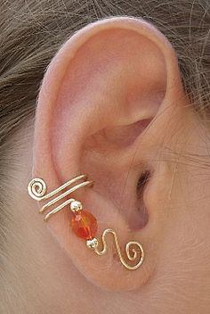 Ear Wraps Ear Cuffs Ear Climbers Ear Crawlers Ear Vines Customize with Swarovski Crystals, Gemstones or Beads in Gold or Silver Ear Jewelry, Beaded Jewelry, Handmade Jewelry, Skull Jewelry, Hippie Jewelry, Jewellery, Wire Crafts, Jewelry Crafts, Ear Cuff Tutorial