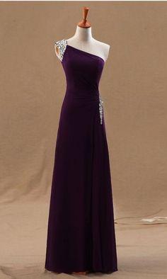 One Shoulder Prom Dress,Dark Purple Prom Dress,Chiffon Prom Dress, Beaded Prom Dress, Floor Length Prom Dress, Cheap Prom Dress, Prom Dresses ,Sheath Prom Dress