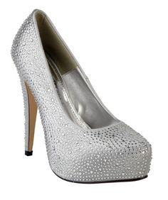 Anne Michelle Ladies silver satin and diamante high heel platform shoe