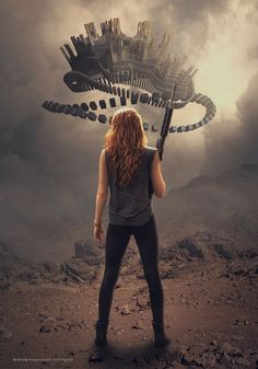 Today's tutorial we will learn to make sci-fi photo manipulation in Photoshop. First I will combine two stock images to create a background, add a mist, and then add a mysterious object flying over women carrying a weapon. The techniques we will use are adjustment layers, masking, retouching and filter effects.