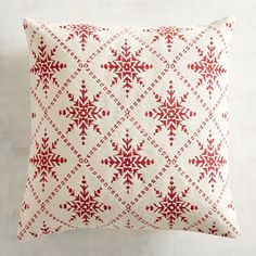 What's the holiday forecast where you live? A flurry of red snowflakes is predicted to appear now through Christmas as our diamond-patterned pillow in a traditional jacquard weave moves into your home. Christmas Rugs, Christmas Pillow, Christmas Home, Christmas Holidays, Trim Paint Color, Unique Christmas Decorations, Hand Embroidery, Cross Stitch Patterns, Snowflakes