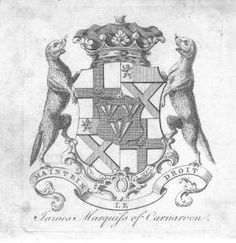 Armorial bookplate of James Brydges (1731-1789), Marquess of Carnarvon, succeeded his father in 1771, as 3rd Duke of Chandos (GB 1719).