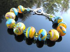 Colorful Lampwork Lampwork  Bead Bracelet by BrooklynBeadGoddess