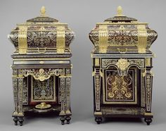 Two Coffers on Stands )1684 - 1689) Intended to hold small precious items. Each coffer has a lid that opens in two sections.The upper lid reveals a shallow compartment while the main lid lifts to reveal the interior of the coffer. The interiors of these coffers are paded with tortoiseshell and brass or pewter  with secret compartments in the base.The coffers are decorated with a pattern of brass and pewter on a tortoiseshell ground and its reverse.