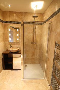 Travertine and Slate en-suite bathroom, Birmingham. Can you spot the innovative use of an Ikea EXPEDIT bookshelf? Travertine Floors, Slate Flooring, Loft Bathroom, Bathrooms, Bathroom Ideas, Ikea Expedit, White Shower, Corner Bathtub, House Colors