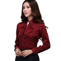 Blouse Shirt 2016 New Women Satin Silk S-xxxl Long Sleeve Romantic Gorgeous Blouses Top Ladies Office Shirts Casual Shirt