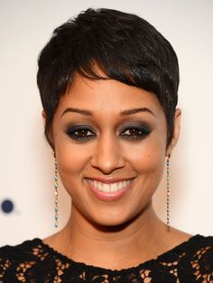 Short: Tia Mowry  The beauty of a close crop is that you can easily switch up your look. Leave your sides feathered and longer with the top combed to the side, like Tia does here, or mess it up and make it punky with a little wax or pomade.    Read more: Celebrity Hair - Best Celeb Hairstyles - Redbook