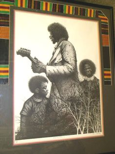 """Paul Chelco pen and ink tribute to Jimmy Hendrix is titled """"Minstrel Family"""" - was produced in 1970 as a tribute to Chelko's friend Jimmy Hendrix, who died earlier that year. Chelko oversaw the framing which employs the symbolic """"Kenta Cloth"""", which is an African cloth worn on special occasions.  The notation 7/1 on the left side suggest that it is one of seven prints. Paul Chelko (1935-2007) was an international known artist, born in Great Britain$2500"""