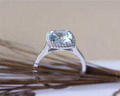 8 mm amortiguador anillo aguamarina sólido 14K oro por JulianStudio