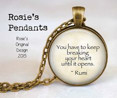 Rumi Healing Quote Pendant Necklace  by RosiesPendants on Etsy