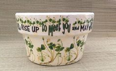 Irish Verse and Botanical Shamrock Flower Pot ,Garden Planter Dublin Ireland, May the LUCK of the IRISH be with Ye! Irish Art by SummerBirdDesign on Etsy https://www.etsy.com/listing/231930822/irish-verse-and-botanical-shamrock