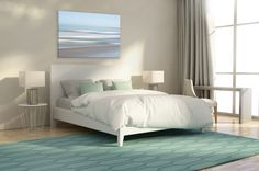 """Strie Sea"" 40""x60"" Wrapped Canvas Print, over a king size bed.  Available at latitudesfineart.com"