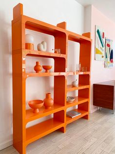 Vintage Modular Olaf Von Bohr for Kartell Orange Bookcase from Home Union of Brooklyn, NY Orange Furniture, Vintage Furniture, Furniture Design, Living Room Orange, My Living Room, Retro Interior Design, Devine Design, Orange Interior, Aesthetic Bedroom