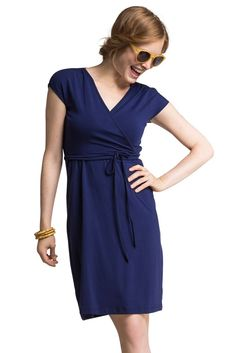 "This go anywhere dress gives ""pack and play"" a whole new meaning. Made in soft and comfortable lyocell, it offers a flexible fit and features Boob Design's hidden nursing function under the wrap. The bodice ties across the bust, but you don't need to untie it to nurse. Pretty details like cap sleeves and a ruched shoulder make it easy to style  with just about anything - sandals, flip-flops or heels.  We love its versatility...."