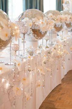 Amazing Sparkling Silver Winter Wedding Tablescape