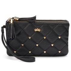 Juicy Couture Quilted Heart-Studded Wristlet
