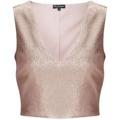 Miss Selfridge Rose Gold Shell Top (£41) ❤ liked on Polyvore featuring tops, crop tops, shirts, miss selfridge, rose pink, party shirts, shell tops, shirt crop top, cropped tops and going out tops