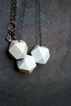 White geometric Wood Necklace