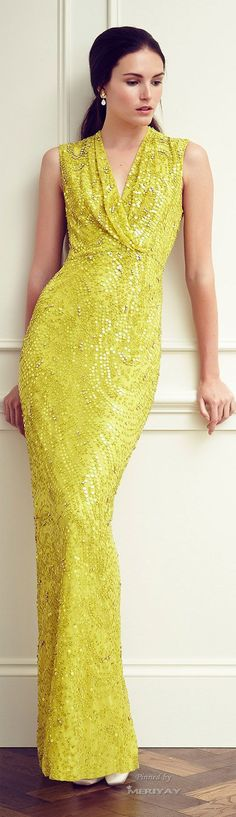 Jenny Packham Resort 2015. yellow maxi dress @roressclothes closet ideas #women fashion outfit #clothing style apparel