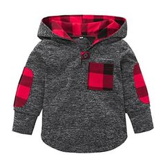 Fineser TM Toddler Baby Girls Boys Plaid Hooded Sweatshirt With Pocket Pullover Tops Casual Warm Clothes (Gray, 3T) #BabyClothing