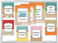 Teacher binder free printables!-----idea make own on Photoshop with different backgrounds not a fan of these colors but the idea is great!!