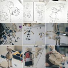 Above is the progression from concept designs to wood-carved stop motion puppets.
