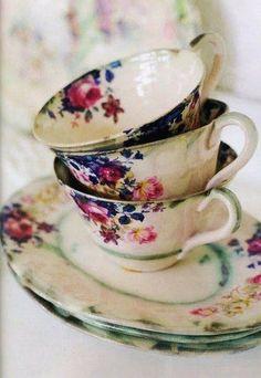 Still Life floral china, teacups
