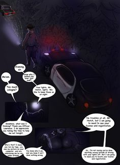 "Page 11. This page identifies the driver of the car following Steve and Taylor to be Taylor's dad Conrad.  From, ""The Abalone Necklace"" interactive web-comic found in its entirety at http://www.redbarkcove.com ©@cameron_voss   ©@briannafaylove #comic #webcomic #interactive #mature #highwaypatrol #horror #countryroads #flashinglights #redwoods"