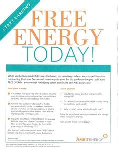 http://ambitwomen.myambit.com/rates-and-plans/ambit-advantages/free-energy   The Energy Moms are helping moms everywhere get free energy -- today, you have a choice on how much you pay for electricity and natural gas -- Ambit Energy and the Free Energy Moms help you get it for free