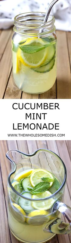 Cucumber Mint Lemonade - Lightly sweet & tart lemonade with subtle flavors of cucumber and mint. The most refreshing drink you'll have all summer! via @afinks