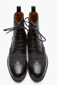 Black Pebbled Leather Wool-Trimmed Wingtip Brogue Boots