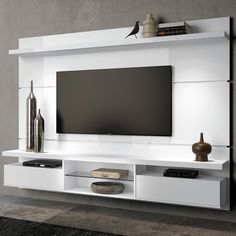 painel home theater suspenso livin branco uv hb móveis Tv Cabinet Design, Tv Wall Design, House Design, Modern Tv Wall Units, Modern Tv Cabinet, Home Living Room, Living Room Decor, Lcd Unit Design, Painel Home