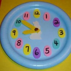 clock craft idea for kids (1) Easter Activities For Kids, Craft Activities, Preschool Crafts, Easter Crafts, Crafts For Kids, Preschool Teachers, Kindergarten Math, Paper Plate Crafts, Paper Plates